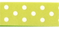 10mm Berisfords Polka Dot Ribbon LEMON 5  (20 metre reel)