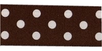 10mm Berisfords Polka Dot Ribbon BROWN 25 (20 metre reel)