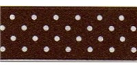 10mm Berisfords Micro Dot Ribbon BROWN 25 (20 metre reel)