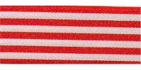9mm Berisfords Stripes Ribbon RED 117  (25 metre reel)