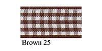 10mm Berisfords Gingham Ribbon BROWN 25 (20 metre reel)